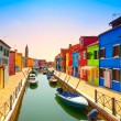 Venice landmark, Burano island canal, colorful houses and boats, — Stock Photo #41587355
