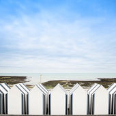 Yport, between Etretat and Fecamp, Normandy. Beach huts or cabin — Stock Photo