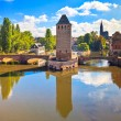 Strasbourg, medieval bridge Ponts Couverts and Cathedral. Alsace — Stock Photo
