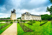 Chateau de Chenonceau Unesco medieval french castle and garden.  — 图库照片