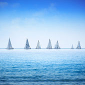 Sailing boat yacht regatta race on sea or ocean water — Stock Photo