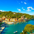 Portofino luxury village landmark, panoramic aerial view. Liguri — Stock Photo