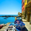 Riomaggiore village street, boats and sea. Cinque Terre, Ligury, — Stock Photo #45187625