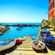 Riomaggiore village street, boats and sea. Cinque Terre, Ligury, — Stock Photo #46304095
