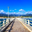 Постер, плакат: Pier beach and Apuane mountains in Forte dei Marmi Versilia Tus