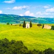 Tuscany landscape, Vitaleta chapel, little church in Val d Orcia — Stock Photo #47514391