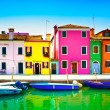 Venice landmark, Burano island canal, colorful houses and boats, — Stock Photo #47892069