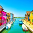 Venice landmark, Burano island canal, colorful houses and boats, — Stock Photo #47936245