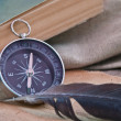 Stock Photo: Antique paper scroll , quill pen and compass