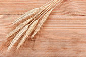 Wheat on the wood background — Stock fotografie