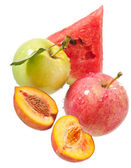 Apple, peach and watermelon — 图库照片