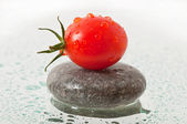 Tomato in the drops of dew — Stock Photo