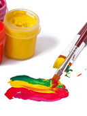 Paint brushes and paints for drawing — Stock Photo