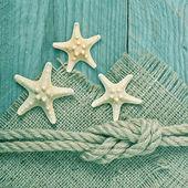 Fartyget rep på trä textur bakgrund — Stockfoto