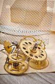 Mechanical clock gears — Stock fotografie