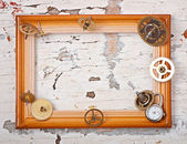 Wooden frame and mechanical clock gears — Стоковое фото