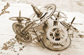 Mechanical clock gears — Stock fotografie