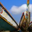 African pirogue canoes beach Dakar — Stock Photo #18587593