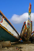African pirogue canoes beach Dakar — Stock Photo