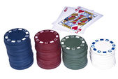 Texas holdem cards and chips — Stock Photo