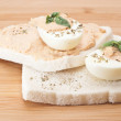 Sandwich with egg and tuna sauce — Stock Photo
