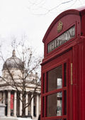 National gallery and red public phone — Stock Photo