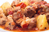 Beef stew, potatoes and onion — Stock Photo