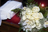 Wedding bouquets and Bible — Stock Photo