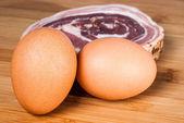 Eggs and bacon slice — Stock Photo