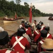 Stock Photo: Historic british marines on boats at river