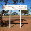 Road direction metal sign outback Australia — Stock Photo #19334549