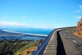 Road turn ocean view Christchurch — 图库照片