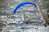 Sakhalin paragliding city view — Stock Photo