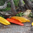 Red orange kayak store place sea side — Stock Photo #22041353