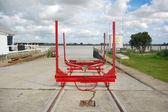 Yacht crane on rails at dry dock — Stock Photo