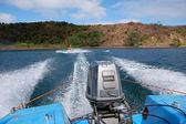 Wakeboarding at lake motor boat view — Stock Photo