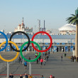 Olympic rings near entrance to park at Sochi 2014 XXII Winter Ol — Stock Photo #41372343