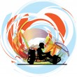 Kart race. Vector illustration — Stock Vector