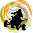 Sketch of Sportsman riding quad bike - Stock Vector
