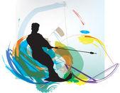 Water skiing man. vector illustration — Stock Vector