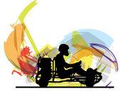 Kart race. Vector illustration — Stock Vector