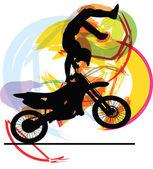Abstract sketch of biker. Vector Illustration — Stock Vector