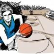 Sketch of Basketball player - Stock Vector
