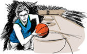 Sketch of Basketball player — Stockvector