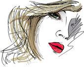 美丽的女人的脸图 — 图库矢量图片