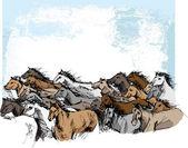 Sketch of horses running — Stock Vector