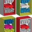 3d Keep right sign — Stock Vector