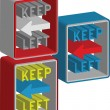 3d Keep left sign — Vettoriali Stock