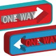 3d one way sign — Stock Vector