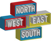 3d North East South West sign — Stock Vector